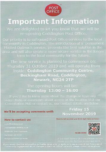 - Post Office at Coddington Community Centre - Thursdays 1pm to 3pm